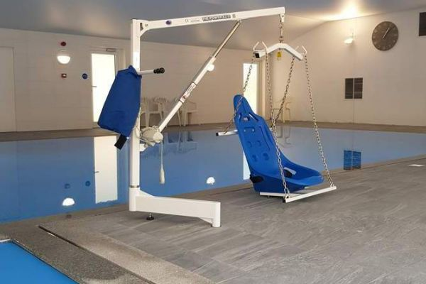 Brand new Wallops Wood accessible hoist for the pool