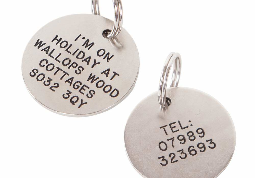 Dog tags for furry friends staying at wallops wood cottage sin case they run away